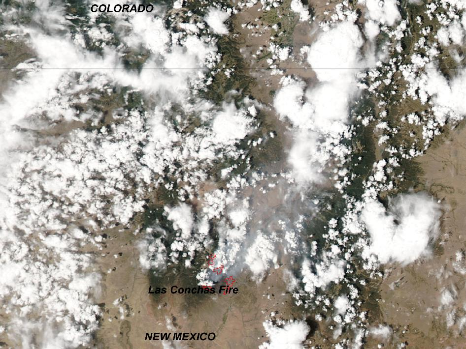 Fire and smoke from the growing wildfire were visible from NASA's Aqua satellite on June 28 as it flew over New Mexico.