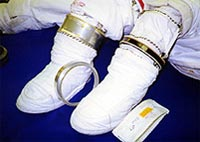 Soft boots used for spacewalking.