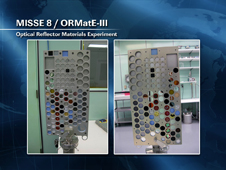 MISSE 8/ORMatE-III Optical Reflector Materials Experiment