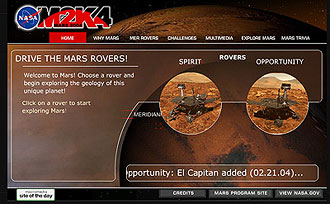 Screen capture of the M2K4 Drive The Mars Rover! program.