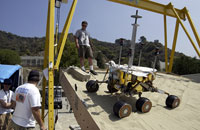Testing the rover in a sandbox