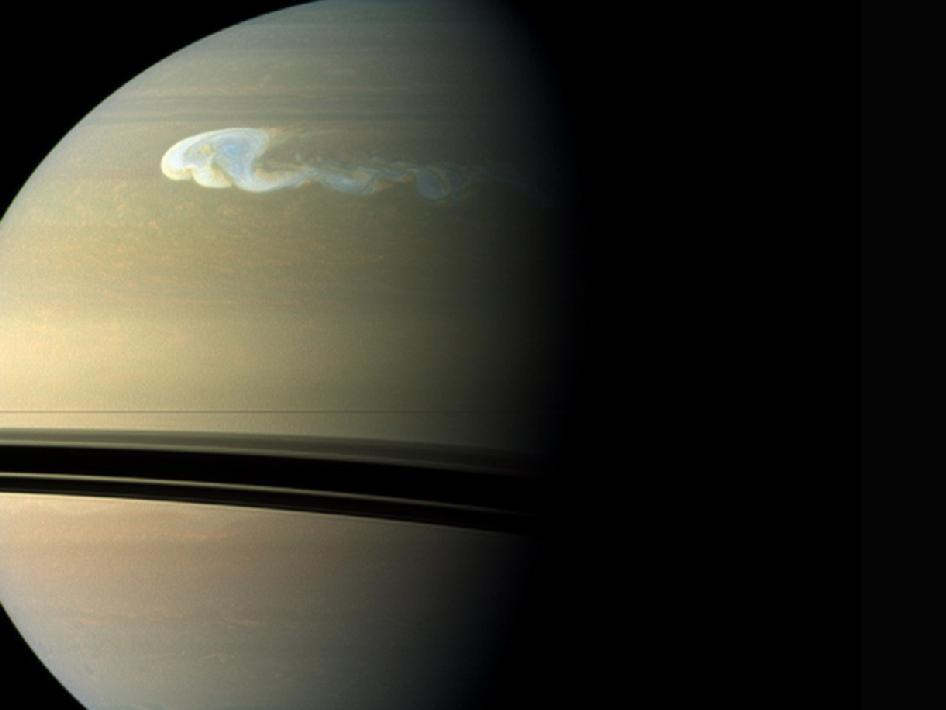 A composite near-true-color view of the huge storm churning through the atmosphere in Saturn's northern hemisphere