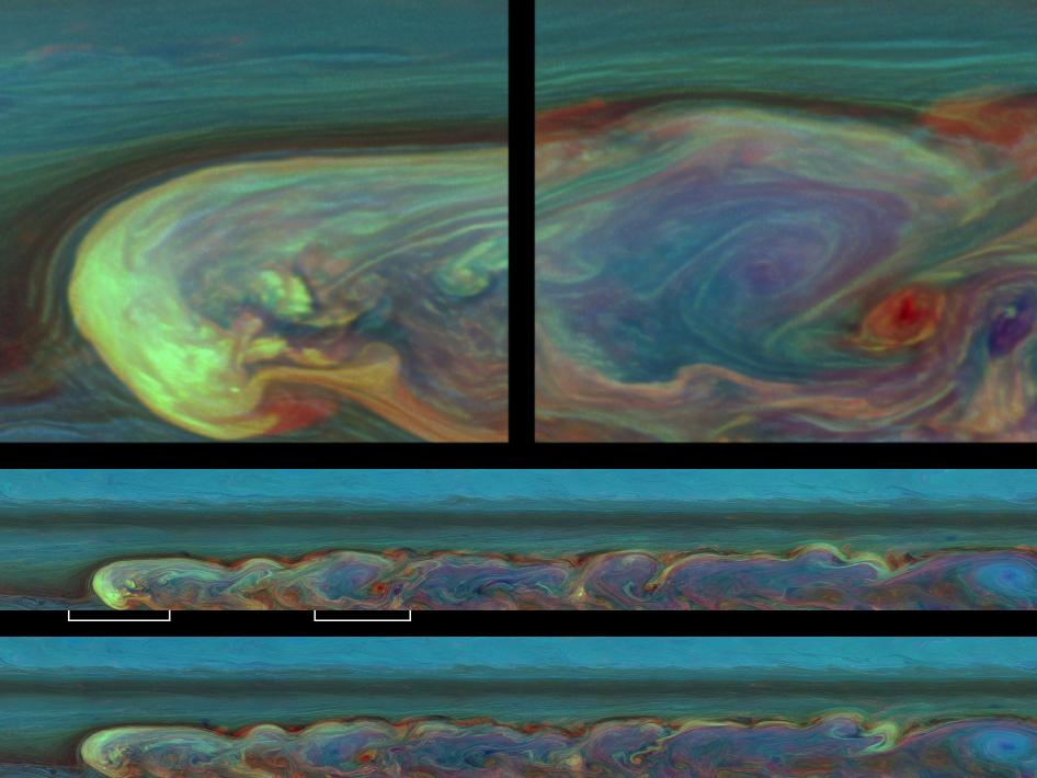 False-color images from Saturn's northern mid-latitudes