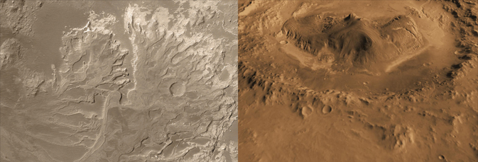 Eberswalde crater (left) and Gale crater (right)