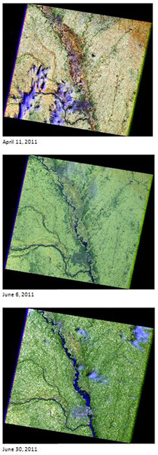 This is an image comparison of the flooded area over time. This series of Landsat 5 images show the Missouri River on April 11, June 6 and June 30, 2011.
