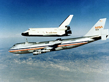 Space shuttle prototype Enterprise rises from NASA's 747 Shuttle Carrier Aircraft.