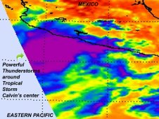 NASA's Aqua satellite passed over Tropical Storm Calvin as it was strengthening over the eastern Pacific.