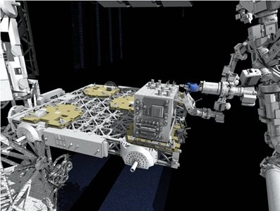 Artistic representation of the ISS's Dextre robot performing a robotic refueling task