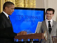 Screen shot of President Obama at the Twitter Townhall at the White House.