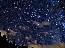 Perseid meteors in the night sky