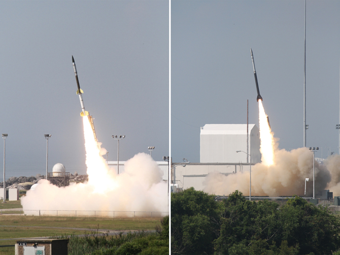 Photos of Sunday's  launch of two rockets to study currents in the ionosphere; a Terrier-Orion (left) and a Black Brant V.