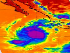 AIRS captured this infrared image of Calvin on July 8, about 6 hours before it briefly became a hurricane.