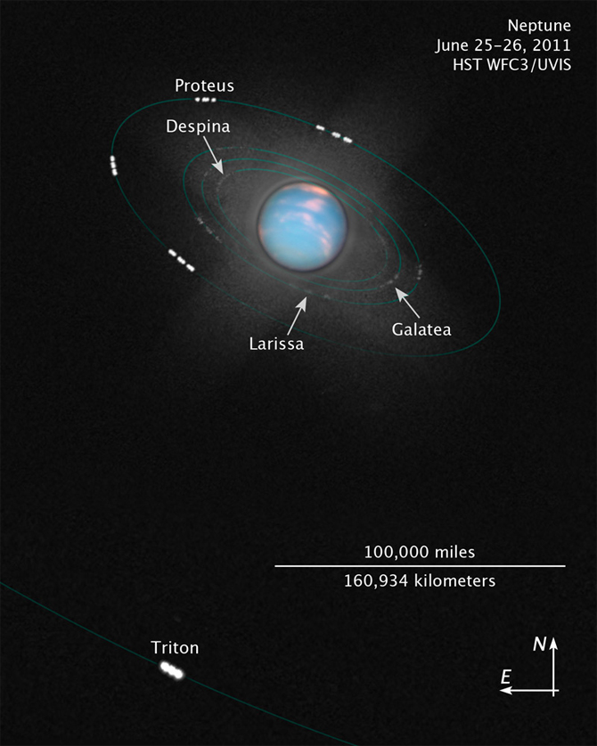 composite image of Neptune and moons