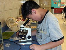 Boy using a microscope