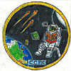Round patch with an astronaut floating above Earth