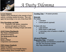 First page of A Dusty Dilemma lesson