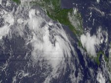 Tropical Depression 4E as taken from GOES-11 on July 18 shows the storm south of Guatemala.