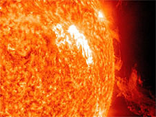 A solar flare and coronal mass ejection erupt from the sun's surface