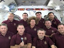 crew members of space shuttle Atlantis and the International Space Station's Expedition 28