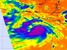 Infrared image of Tropical Storm Dora captured by AIRS on July 18, 2011 at 1929 UTC.