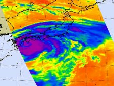 Infrared image of Tropical Storm Ma-on was captured by AIRS on July 19  at 0347 UTC