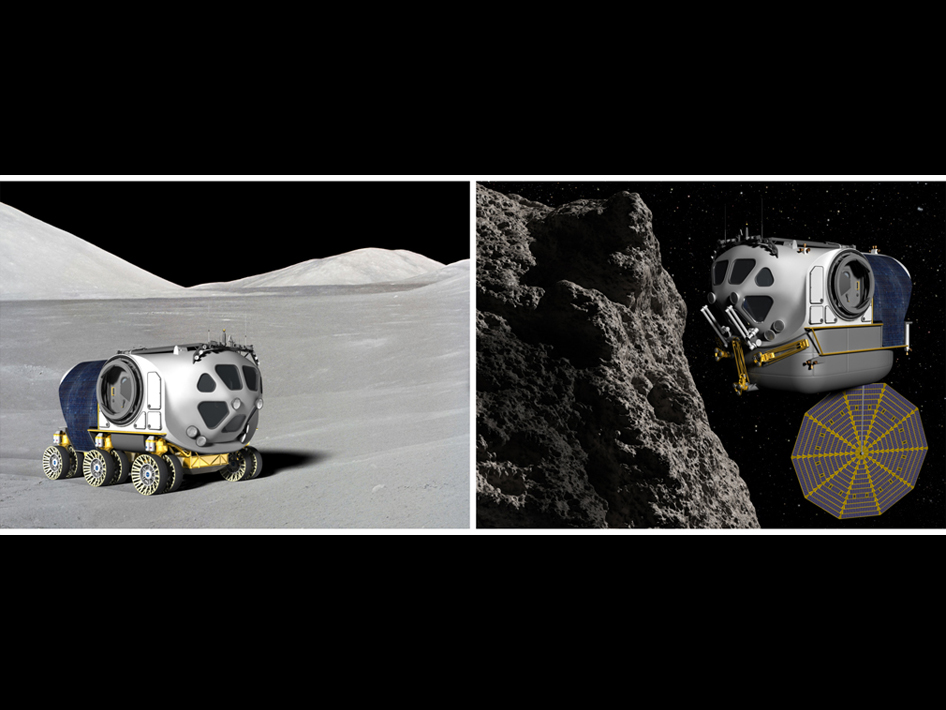 SEV used as rover and as space vehicle.