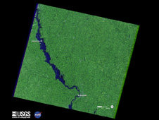 Flooding down the Missouri River continues along the Nebraska and Iowa border as shown in this Landsat 7 satellite image
