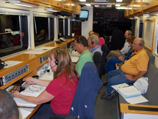 A highly trained team waits inside the Convoy Command Vehicle
