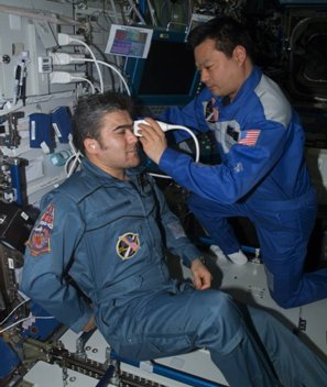 Using the ADUM protocols, ISS Expedition Commander Leroy Chiao performs an ultrasound examination of the eye on Flight
