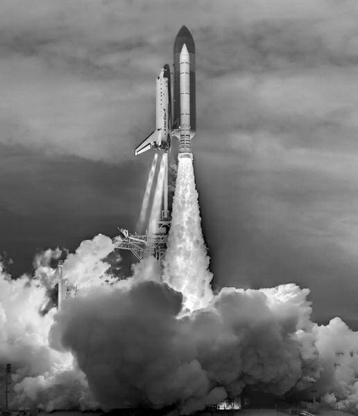 A high dynamic range, six-camera, fused image of the launch of STS-135.