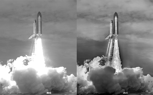 A comparison showing a typical ambient light camera image of the STS-135 launch (left) with the composited image (right).