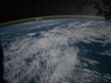 Atlantis reentering the atmosphere taken from the International Space Station.  Image courtesy of NASA