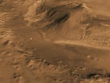 Computer-generated view based on multiple orbital observations shows Mars' Gale crater