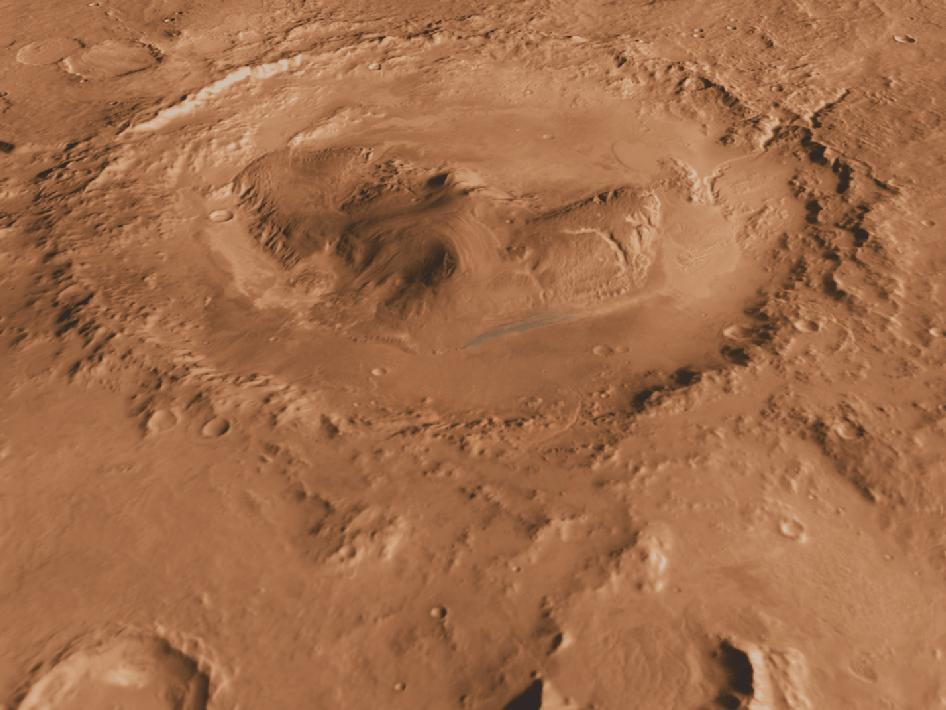 Oblique, southward-looking view of Gale crater