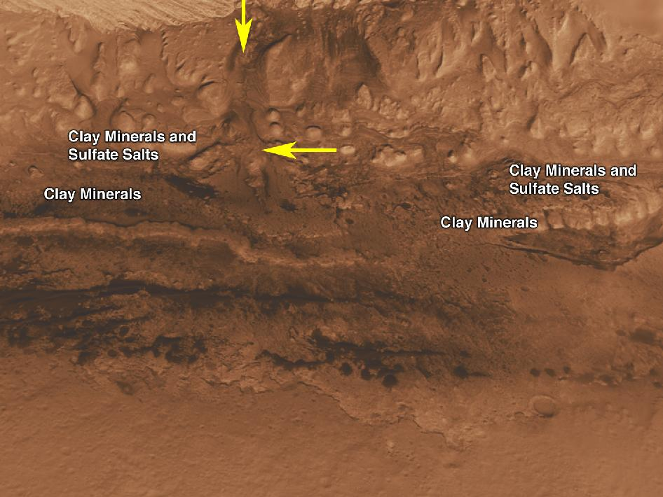 Oblique view of the lower mound in Gale crater on Mars