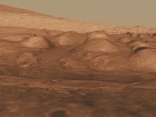 Oblique view of the lower mound in Gale crater