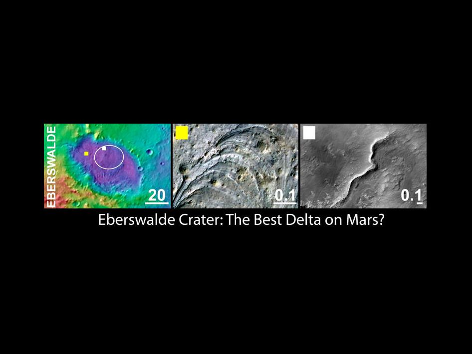 Panels showing various views of Eberswalde crater on Mars
