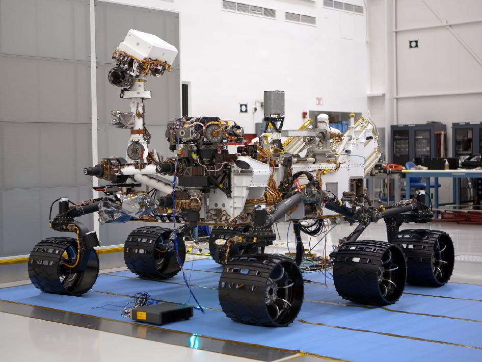 The right-eye part of a stereo pair of images of the Mars Science Laboratory mission's rover, Curiosity