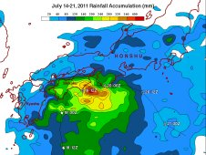 TRMM rainfall totals are shown here for the period July 14-21, 2011 for southeastern Japan in association Ma-On.