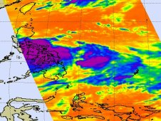 Infrared image of Tropical Depression 10W taken by the AIRS instrument on July 25  at 0441 UTC (12:41 a.m. EDT)