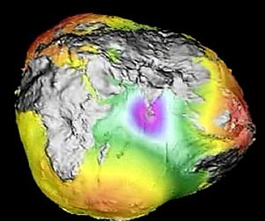 Still image of world gravity map