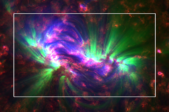 These jets, known as spicules (boxed), were captured in an SDO image on April 25, 2010.