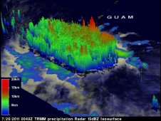 TRMM data was used to create a 3-D image of11W's rainfall and cloud heights as it passed overhead on July 26.