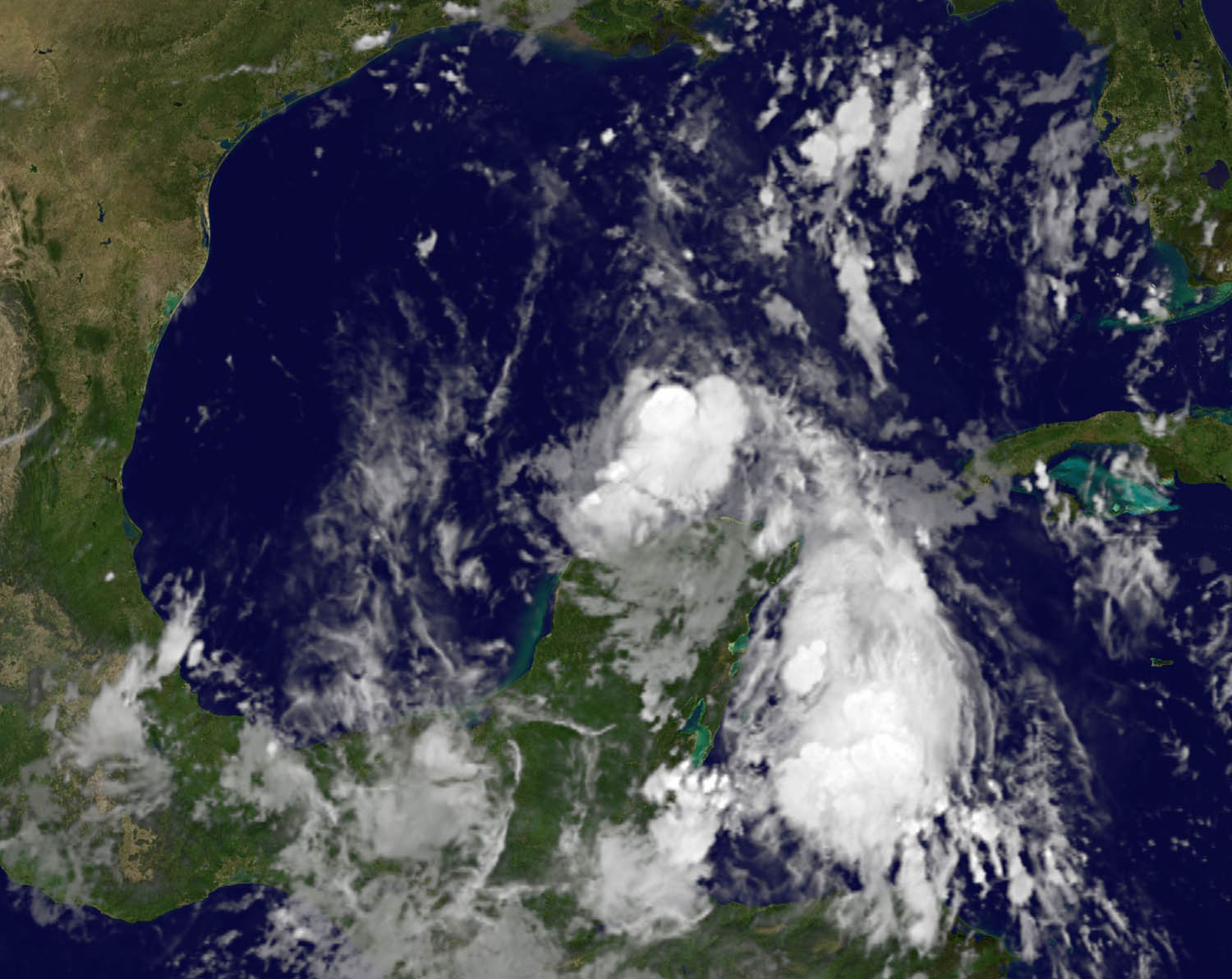 A NASA satellite photo of Tropical Strom Don