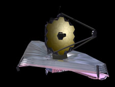 Artist's conception of the James Webb Space Telescope as of September 2009.