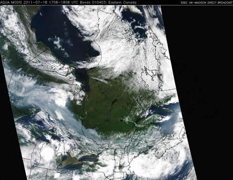 NASA's Aqua satellite image over western Ontario