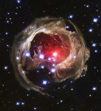 An expanding halo of light around a distant star named V838 Monocerotis (V838 Mon)
