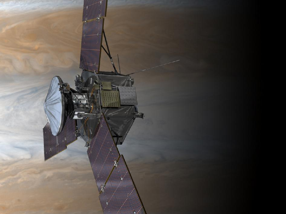 NASA's Juno spacecraft is shown in orbit above Jupiter's colorful clouds in this artist's rendering