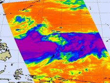 AIRS infrared image of Tropical Storm Muifa on July 29, 2011 at 04:17 UTC (12:17 a.m. EDT).