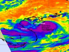 AIRS infrared image of Tropical Storm Nock-ten on July 29, 2011 at 05:59 UTC (1:59 a.m. EDT).